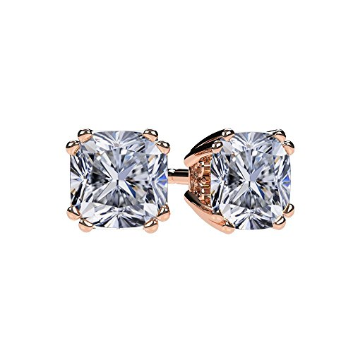 NANA Cushion Cut Swarovski CZ Stud Earrings Silver & 14k Solid Gold Post- 5mm-1.20cttw-Rose Gold Plated ()