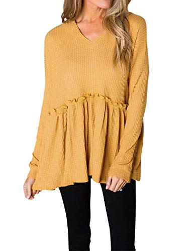 - Hilltichu Women's Casual Long Sleeve Waffle Knit Shirts Cute V-Neck Hooded Pullover Pleated Ruffle Hem Tunic Tops