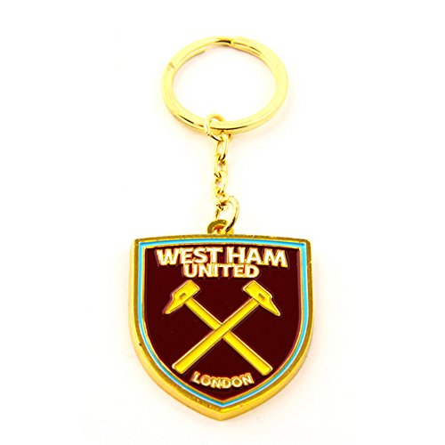 West Ham FC Official Metal Football/Soccer Crest Keyring (One Size) (Claret) (Ham West Keyring)