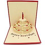 IShareCards Handmade 3D Pop Up Birthday Cards Creative Greeting Cards Papercraft (90° Happy Birthday Cake)