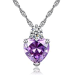 Godyce Heart Amethyst Pendant Necklace Women Girl Purple Crystal 18k Gold Plated Jewelry