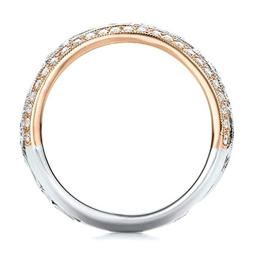 Vintage Retro Jewelry Estate (SAINTHERO Women's Retro Hollow Rose Gold Stainless Steel Ring Rhinestone Ring for Gift (Size 6-10))