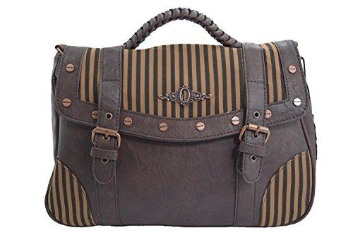 Banned Vintage Steampunk Brown Black Stripes Wild West Steampunk Handbag