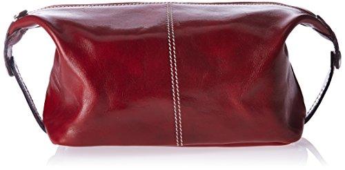 Alberto Bellucci Men's Italian Leather Toiletry Travel Dopp Kit Case, Red by Alberto Bellucci