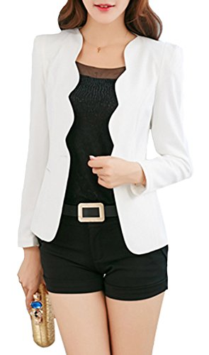 SiYuan Womens Casual Slim Fit Jacket Single Button Wave Collar Business Blazer US2/Tag M White KK1002
