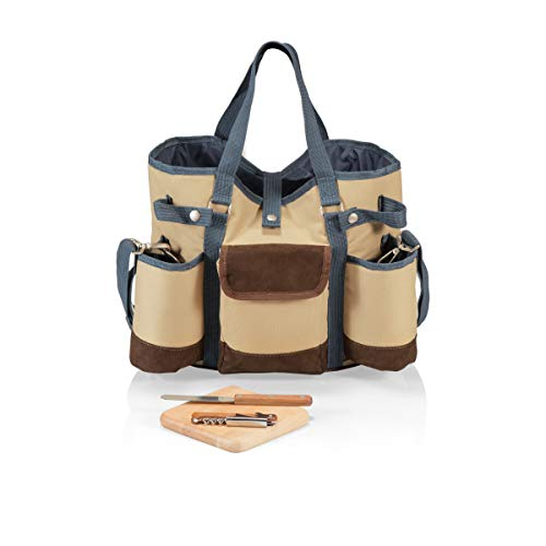 LEGACY - a Picnic Time Brand Wine Country Tote with Cheese Service and Corkscrew, Tan/Blue Best Wine Blue Cheese