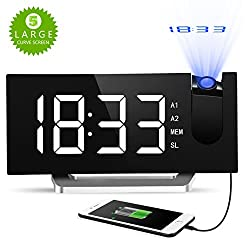 Digital Projection Clock, Atmoko FM Radio Alarm Clock with USB Charging Port, Dual Alarms, Snooze Function, [Curved-Screen] 5-inch Large LED Display with Dimmer, 12/24 Hours, Backup Battery-White