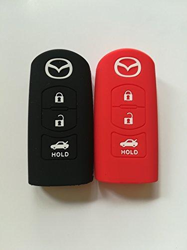 (2pcs Silicone Protective key Holder Protector Bag Key Cover Key Jacket Key Case Cover Fob Skin Key Holder for Mazda Cx-5 Cx-7 Cx-9 Mazda 3 5 6 (one black and)