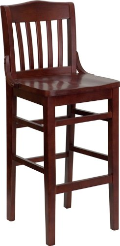 - Flash Furniture HERCULES Series School House Back Mahogany Wood Restaurant Barstool
