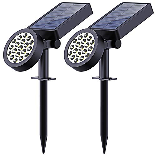 Solar Yard Lights Outdoor,19 LED Solar Landscape Spotlights-Waterproof Outdoor Adjustable Wall Light Security Lighting Dark Sensing Auto On/Off for Patio Lawn Pool Yard Garage Garden, Pack of 2