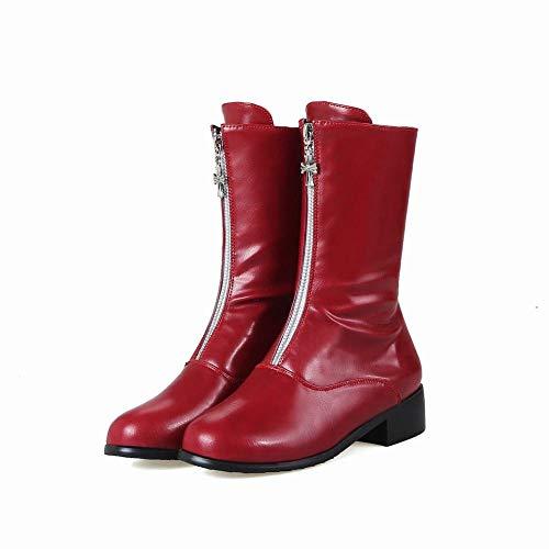 Dimensioni' Basso Rosso Grandi Caldi Women Alta inverno donne Scarpe Rotonda S 35 Zj Stivali Stivali Qualità 43 Di Tacco Testa qxxBnS6p1