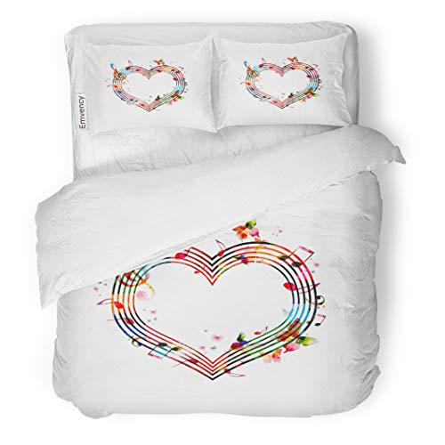 Semtomn Decor Duvet Cover Set King Size Artistic Colorful Music Notes Composer Fantasy Heart 3 Piece Brushed Microfiber Fabric Print Bedding Set Cover ()