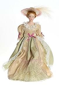 Señorita Victoriana con Vestido Beige en Miniatura para Casa de Muñecas Escala 1:12