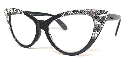 Burmese Swarovski Cat Eye Reading Glasses in Crystal & Black Diamond (Black with Crystal & Black Diamond Swarovskies, 2.50)
