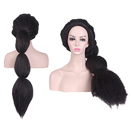 [Z-Cosplay Long Black Fluffy Costume Wig for Halloween Cosplay] (Black Jasmine Wig)