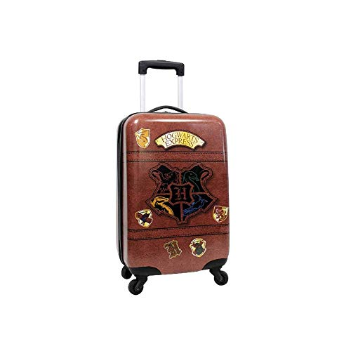 Harry Potter Luggage 21 Inch Hogwarts Express Hard-Sided Suitcase Rolling Luggage Carry-On Tween Spinner Travel Trolley for kids - Brown
