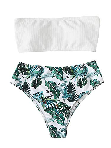 SweatyRocks Women's Sexy Bathing Suits High Waist Leaves Print Wrap Padding Ribbed Bandeau Swimwear Set White - Ribbed Wrap