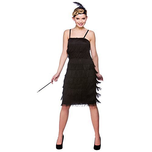 (M) Ladies Jazzy Flapper Costume for 20s 30s Gangsters Molls Fancy Dress Womens by Wicked Wicked (30s Gangster Costume)