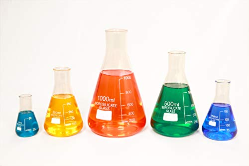 Glass Erlenmeyer Flask Set of 5 Borosilicate Thick Low Form - 50ml, 150ml, 250ml, 500ml, 1000ml