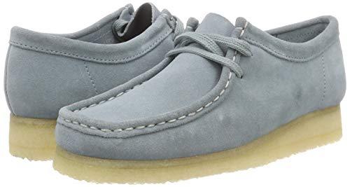 Azul Wallabee Blue Cordones Zapatos de Clarks para Grey Derby Mujer OanWqSU
