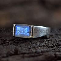 Natural Labradorite Ring, Solid 925 Sterling Silver Jewelry, Labradorite Man's Ring, Statement Ring, Handmade Ring, Rectangle Gemstone Ring, Wedding Ring, Dainty Jewelry