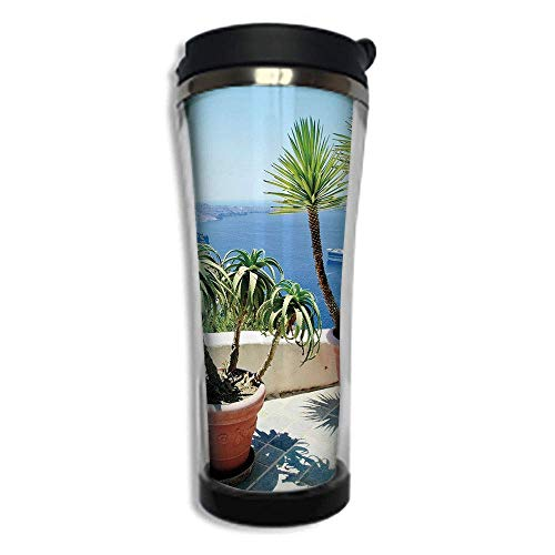 Customizable Travel Photo Mug with Lid - 14.2OZ(420 ml) Stainless Steel Travel Tumbler, Makes a Great Gift by,Travel Decor,Vacation in Santorini Balcony Overlooking The Old Volcano The Caldera Aegean,