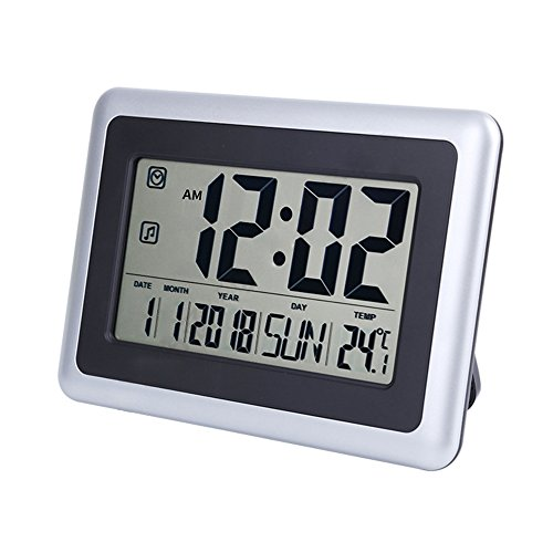 UMEXUS Large Display Digital Wall Clock Desk Alarm Clock with Calendar & Temperature Battery Operated Decoration Clock for Kitchen Bathroom Bedroom Office School (Silver)