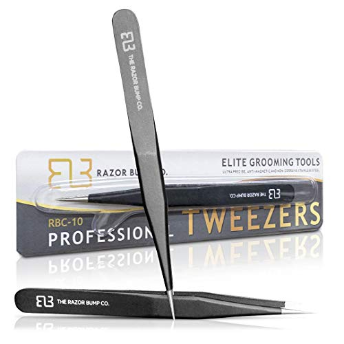 (Tweezers For Ingrown Hair By The Razor Bump Co. | Sharp, Stainless Steel, Surgical | Professional Tweezers For Women and Men | Precision Splinter Remover | Best Facial Hair and Eyebrow Trimmer | Black)