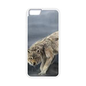 wolf drinking water painting iPhone 6 4.7 Inch Cell Phone Case White 53Go-206408