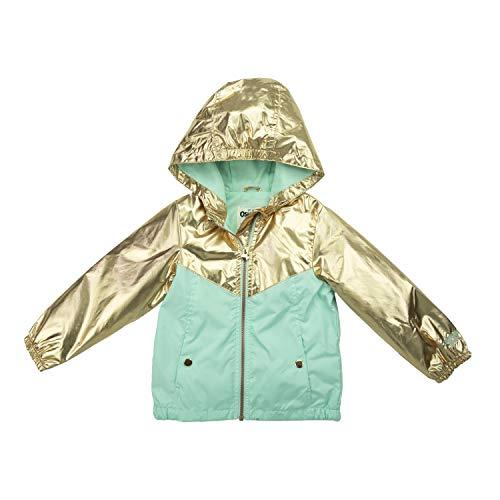 Osh Kosh Baby Girls Lightweight Jersey Lined Windbreaker Jacket, Metallic Rose Gold and Aqua, 12 Months