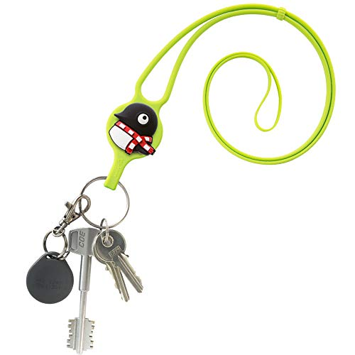 Universal Silicone Lanyard Neck Strap for Keys ID Holder Badges Keychain Wallet with Detachable Card Case, Card Tie Series - Maru Penguin (Green) ()