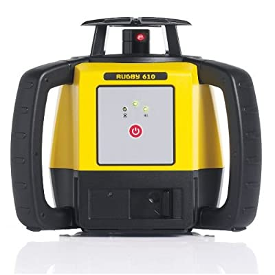 Leica R610,RE140, Alkaline Rugby 610 2000-Feet Self Leveling Horizontal Rotary Laser Kit with Rod Eye 140 Receiver, Yellow