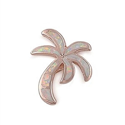 17MM ROSE GOLD Plated Sterling Silver White Lab Opal Palm Tree Pendant Necklace (Tiffany Palm Tree Necklace)