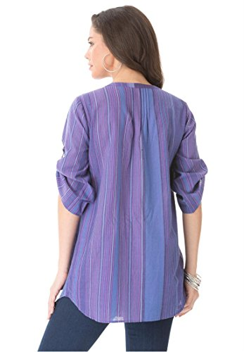 Roamans Women's Plus Size Rainbow Stripe Bigshirt