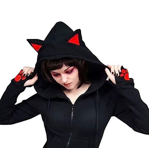 (Nite closet Cat Ears Hoodies for Women Zipper Jacket Animal Costume Sweet Gothic (Black, Womens)