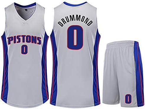 メンズバスケットボールジャージ、ピストンズドラモンド0ジャージースウィングマンバスケットボールユニフォーム、メンズコネクテッドジャージ
