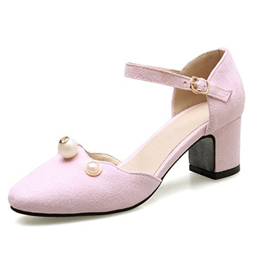 SJJH Sandals with Nubuck Materail and Large Size Women Dressy Sandals for Fashion Women with Low Chunky Heel Pink