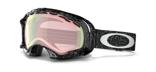 Oakley Asian Fit Splice Snow Goggles (Black with Silver Text Frame/VR50 Pink Iridium Lens), Outdoor Stuffs