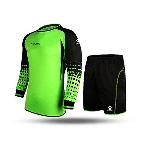 - KELME Soccer Goalkeeper Long Sleeves Jersey & Shorts for Mens Kids (Green, Kids US:14)