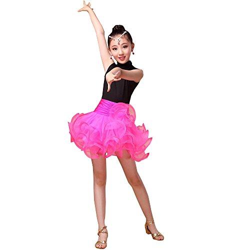 Dance Sleeveless Competition Dance Practice Tutu Summer Child Clothing Performance Rose Dress Red ZEVONDA Girls Latin Costume xnAqHf