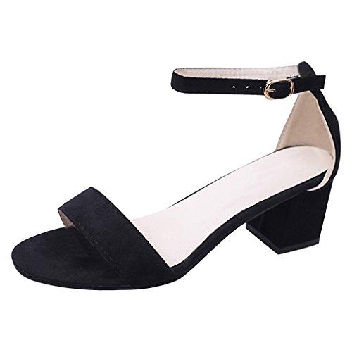 Carissime Scarpe Da Donna Estate Scamosciate Sandalo Con Tacco Alto E Cinturino Alla Caviglia Nero