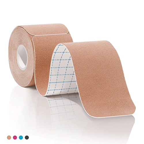 Kinesiology Tape Pro Athletic Sports. Knee, Ankle, Muscle, Kinetic Sport Dynamic, Physical Therapy. Strong-Rock Breathable h2o Resist Cotton.Roll,pre-Cut 10 in Strip -Beige