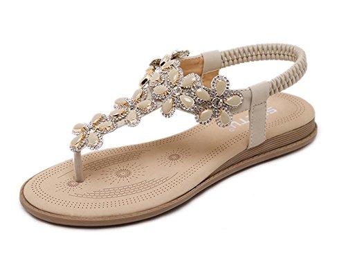 B Gran Tamaño Diamante Flores Zapatos Planos De Las Sandalias zq7w8TvT