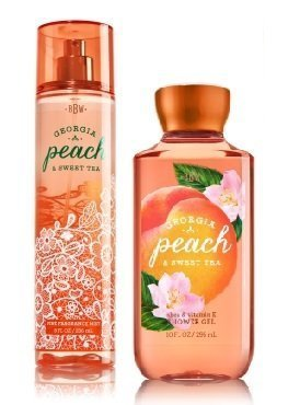 Bath & Body Works Georgia Peach & Sweet TEA Gift Set ~ Fragrance Mist & Shower Gel ~ Full Size