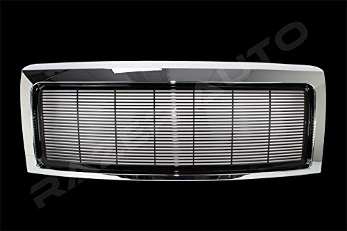 Razer Auto Triple Chrome Plate Outer Shell with Gloss Black Billet Grille Complete Factory Replacement Grille Shell for 09-14 Ford F150 ()