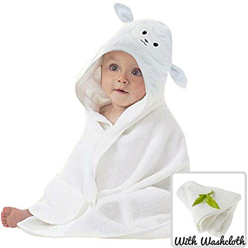 Organic Bamboo Baby Hooded Towel with Bonus Washcloth | Ultra