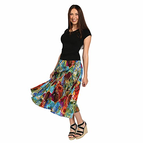 Women's Maxi Skirt - Menagerie Bold Colors Crinkle Long Dress - 1X