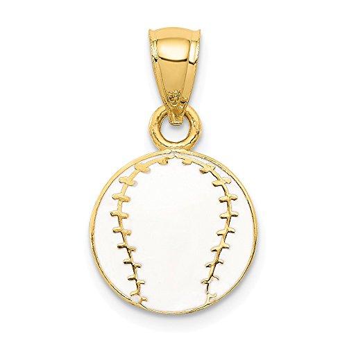 14K Yellow Gold Enameled Baseball Pendant