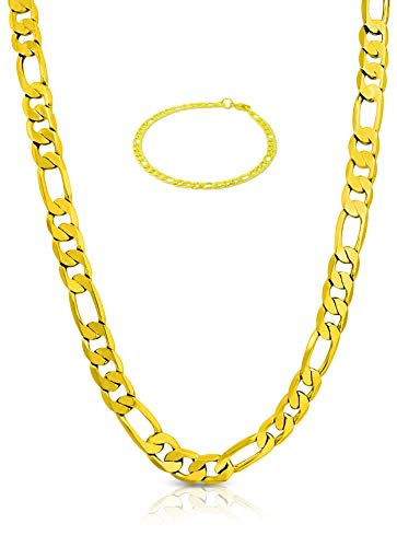 BLING CULTURE 10mm Gold Figaro Chain with Life Time Warranty,Made in USA,30x Thicker Gold,Tarnish Resistant 24,30inch (24) ()