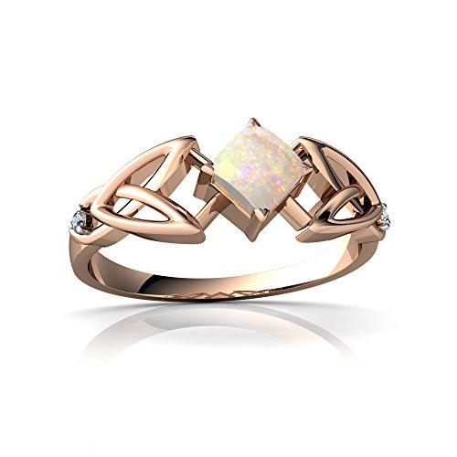 14kt Diamond Trinity Knot Ring - 14kt Rose Gold Opal and Diamond 4mm Square Celtic Trinity Knot Ring - Size 5.5